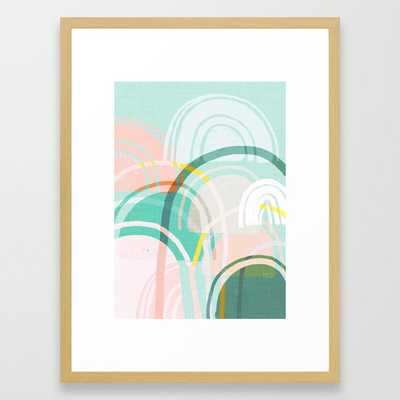 Somewhere - mint & peach Framed Art Print - Society6