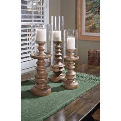 3 Piece Glass Hurricane Set (Set of 3) - Wayfair