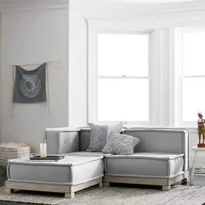 Cushy Lounge Sectional Set, Light Gray, Faux Suede - Pottery Barn Teen