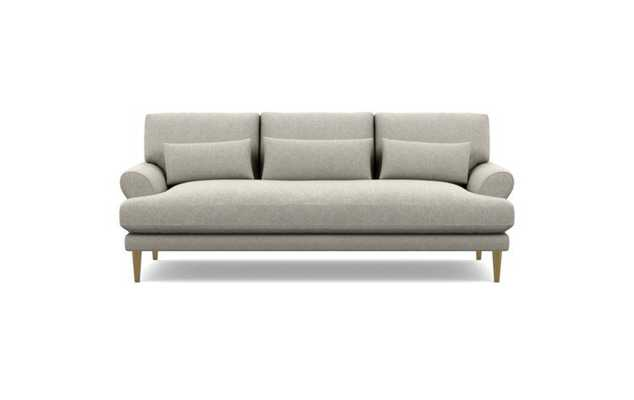 Maxwell Sofa with Heathered Weave Oatmeal Fabric and Brass Plated legs - Interior Define
