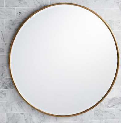"""Vintage Round Mirror, 42"""", Brass - Wayfair"""