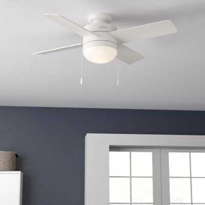"44"" Timpani 4 - Blade Flush Mount Ceiling Fan with Pull Chain and Light Kit Included - Wayfair"