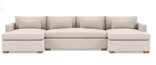 Charly U-Sectional with Beige Wheat Fabric, double down cushions, extended right chaise, extended left chaise, and Natural Oak legs - Interior Define