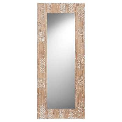 Carved Wood Floor Leaning Mirror Washed White Wood - Pottery Barn Teen