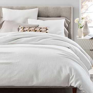 TENCEL Cotton Matelasse Duvet Cover, Full/Queen, Stone White - West Elm
