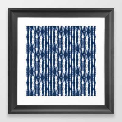 Shibori Stripes 4 Indigo Blue Framed Art Print - Vector Black - 12x12 - Society6