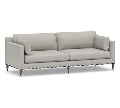"""Tallulah Upholstered Grand Sofa 95"""", Down Blend Wrapped Cushions, Performance Boucle Pebble - Pottery Barn"""