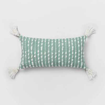 Oversized Lumbar Woven Pillow with Tassels Mint/White - Target