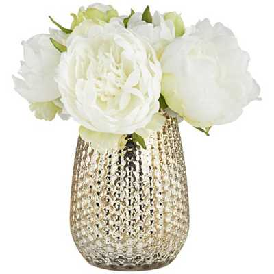 "White Peony 8""H Faux Flowers in a Mercury Glass Vase - Lamps Plus"