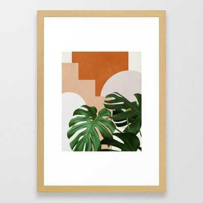 "Abstract shapes art, Tropical leaves, Plant, Mid century modern art Framed Art Print - Medium (gallery) - 20"" X 26"", Conversation Natural - Society6"