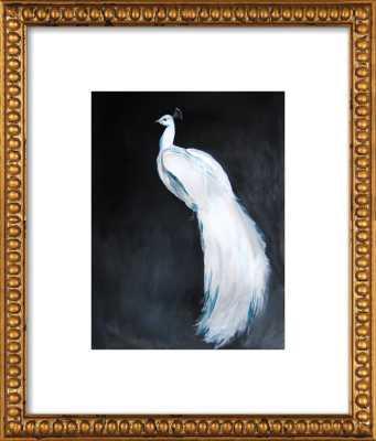 "White Peacock II Gold Crackle Bead Wood, frame width 1.25"", depth 1.125"" - Artfully Walls"
