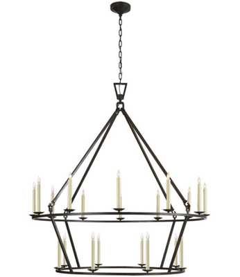 TWO-TIERED RINGED FRAME CHANDELIER - LARGE - Shades of Light