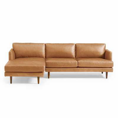 Haven Loft Leather LEFT 2-Piece Chaise Sectional -Saddle - Vegan leather - West Elm