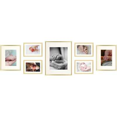 7 Piece Alisson Gallery Wall Aluminum Picture Frame Set-Gold - Wayfair