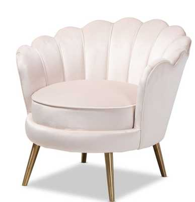 BAXTON STUDIO COSETTE GLAM AND LUXE LIGHT BEIGE VELVET FABRIC UPHOLSTERED BRUSHED GOLD FINISHED SEASHELL SHAPED ACCENT CHAIR - Lark Interiors