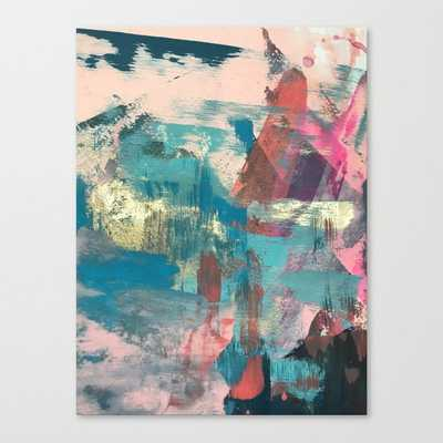Sugar Rush [2]: a colorful, abstract mixed media piece in pinks, blues, and gold Canvas Print - Society6