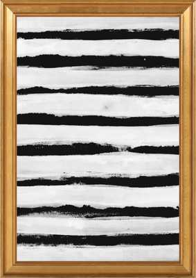 """Black and White Stripes, 14""""X 20"""",Gold crackle bead wood - Artfully Walls"""
