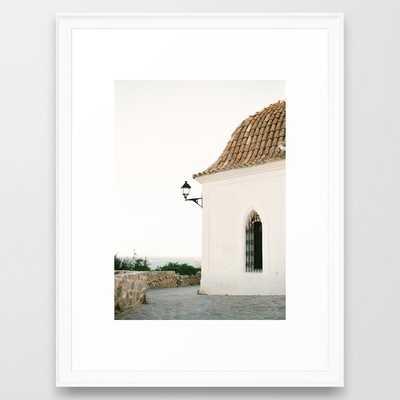 "Travel photography ""Ibiza white"" | Modern wall art Ibiza Spain coast white tones sunset Framed Art Print - Scoop White Frame - Society6"