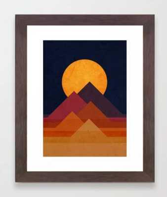 Full moon and pyramid Framed Art Print- Conservation Walnut Frame - Society6