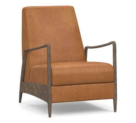 Fairview Leather Recliner, Polyester Wrapped Cushions, Churchfield Camel - Pottery Barn