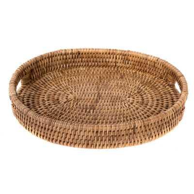 Rattan Oval Tray with Cutout Handles - Wayfair