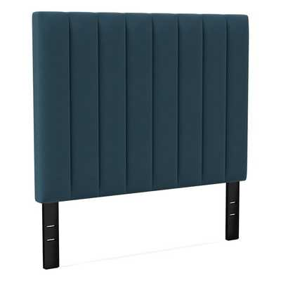 Channel Tufted Headboard Tall, King, Distressed Velvet, Peacock - West Elm