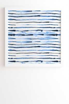 "INDIGO INK STRIPES-  Framed Art Print- White Frame- 20"" X 20""- - Wander Print Co."
