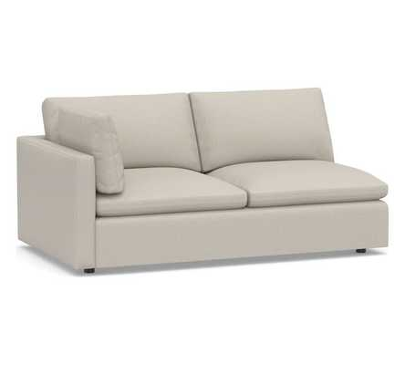 Bolinas Upholstered Left-arm Loveseat, Down Blend Wrapped Cushions, Performance Heathered Tweed Pebble - Pottery Barn