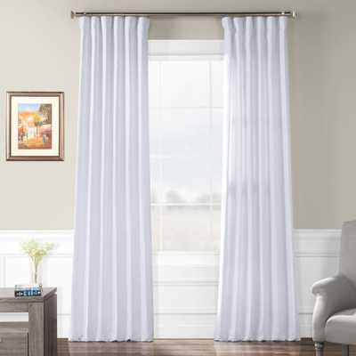 Exclusive Fabrics & Furnishings Crisp White French Linen Curtain - 50 in. W x 96 in. L - Home Depot