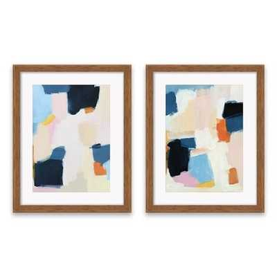 """Set of 2 16.25""""x20.25"""" Blue And Pink Abstract Framed Print Decorative Wall Art - Project 62™ - Target"""