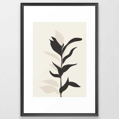 "Abstract Minimal Plant Framed Art Print // Scoop Black // Medium (gallery) - 26"" x 38"" - Society6"