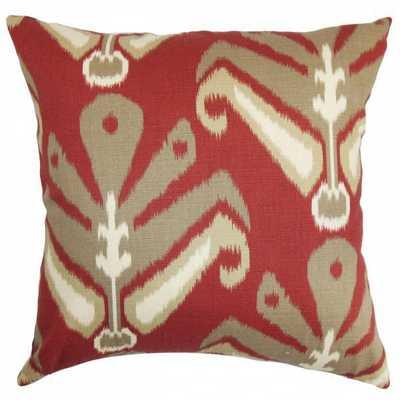 """Sakon Ikat Pillow Red Brown- 18"""" x 18""""- Down insert - Linen & Seam"""