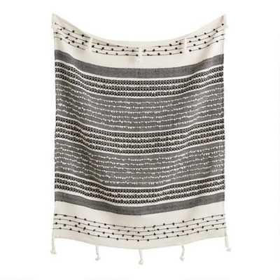 Black And Ivory Woven Indoor Outdoor Throw Blanket - World Market/Cost Plus