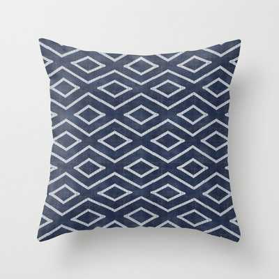 Stitch Diamond Tribal Print in Indigo Throw Pillow with poly insert - Society6