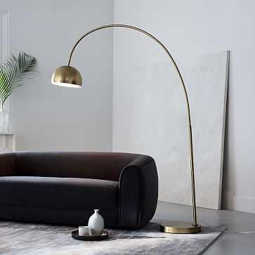 Overarching Metal Shade Floor Lamp, Brass - West Elm