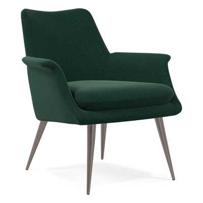 Finley Lound Chair, Poly, Distressed Velvet, Forest, Burnished Bronze - West Elm