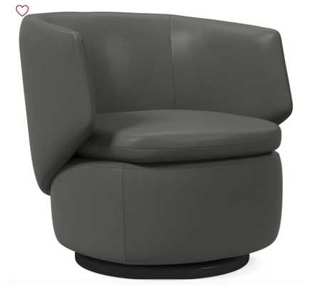 Crescent Swivel Chair, Aspen Leather, Fog, Concealed Supports - West Elm
