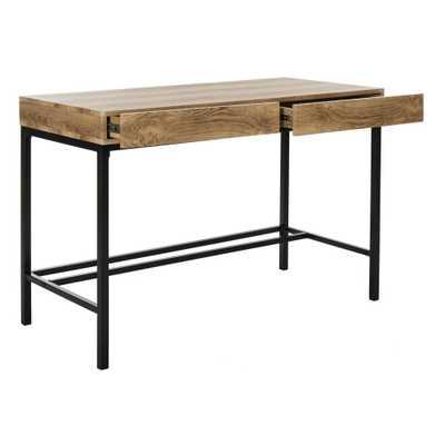Patrick 2 Drawer Desk - Brown/Black - Arlo Home - Arlo Home
