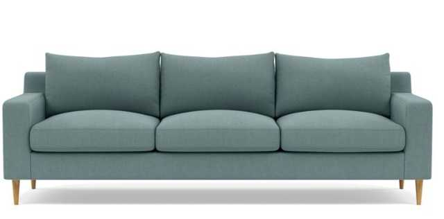 Sloan Sofa with Blue Mist Fabric, standard cushions, natural oak legs - Interior Define