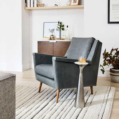 Carlo Mid Century Chair, Saddle Leather, Blue Stone, Pecan - West Elm