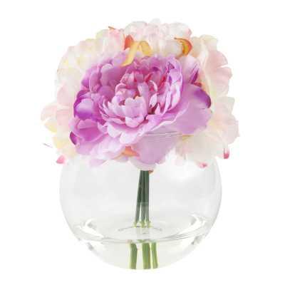 Peony Arrangement in Glass Vase - Wayfair