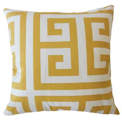 "Nahman Geometric Pillow Golden Rod - 18"" x 18"" - Poly Filled - Linen & Seam"