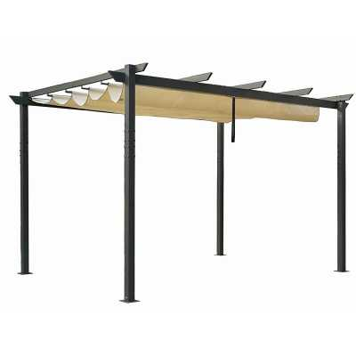 "Wirksworth 156"" W x 115"" D Metal Pergola with Canopy - Wayfair"