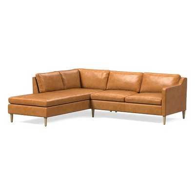 "Hamilton Sectional Set 10: RA 63"" Sofa, LA Terminal Chaise, Poly, Charme Leather, Burnt Sienna, Almond - West Elm"