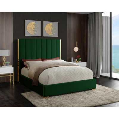 Aeliana Velvet Upholstered Platform Bed, Green, Queen - Wayfair