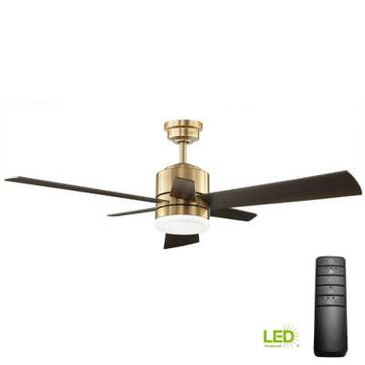 Home Decorators Collection Hexton 52 in. LED Indoor Brushed Gold Ceiling Fan with Light Kit and Remote Control - Home Depot