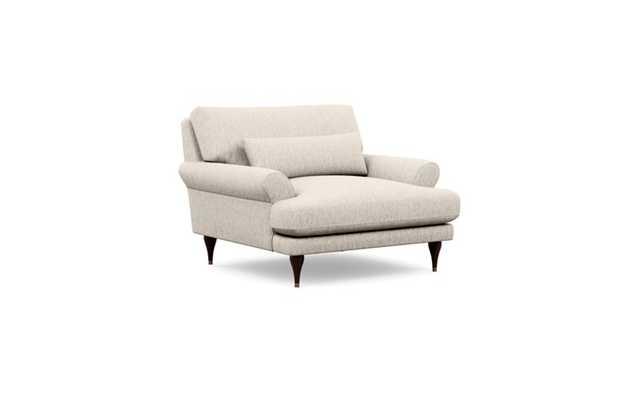 MAXWELL Accent Chair - Wheat Cross Weave fabric/Oiled Walnut with Brass Cap Stiletto Leg - Interior Define