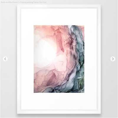 Blush and Blue Dream 1: Original painting Framed Art Print, Vector White, 26x38 - Society6