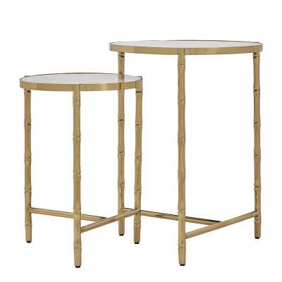Conlon Round Bamboo-look Stainless Steel Marbled 2 Piece Nesting Tables - Wayfair