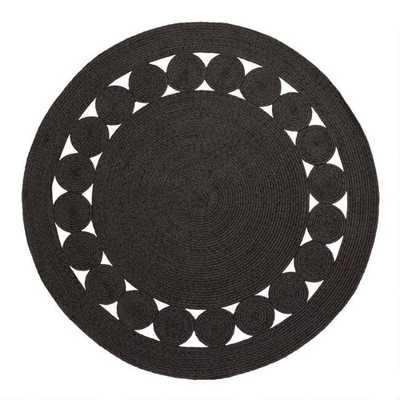 Round Black Woven Reversible Indoor Outdoor Rug - World Market/Cost Plus